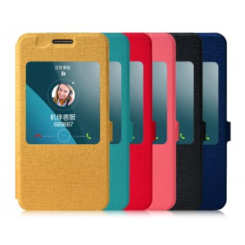 Текстурный чехол флип подставка с окном вызова на пластиковой основе для Huawei Honor 4X