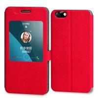 Текстурный чехол флип подставка с окном вызова на пластиковой основе для Huawei Honor 4X Красный