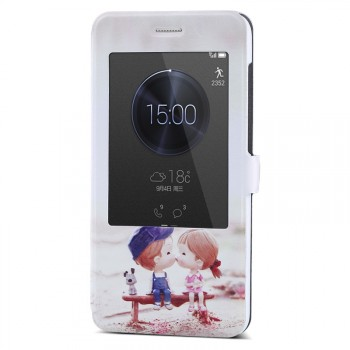 Текстурный чехол флип подставка с окном вызова для Huawei Honor 4X