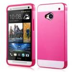 Двуцветный чехол силикон-пластик для HTC One (M7) Dual SIM бел-роз
