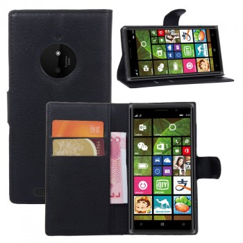Чехол портмоне подставка зернистой текстуры с защелкой на пластиковой основе для Nokia Lumia 830