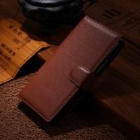 Чехол портмоне подставка зернистой текстуры с защелкой на пластиковой основе для Nokia Lumia 830 Коричневый