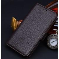 Кожаный чехол портмоне (нат. кожа крокодила) для Huawei Honor 4X Коричневый