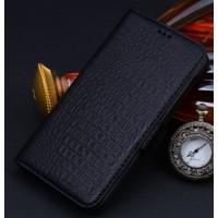 Кожаный чехол портмоне (нат. кожа крокодила) для Huawei Honor 4X Черный