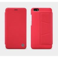 Текстурный чехол флип подставка с внутренним карманом на пластиковой основе для Huawei Honor 4X Красный