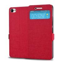Текстурный чехол флип подставка на пластиковой основе с окном вызова для Lenovo S60 Красный
