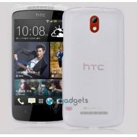 Силиконовый полупрозрачный чехол для HTC Desire 500 Белый