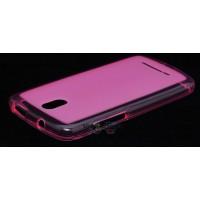 Силиконовый полупрозрачный чехол для HTC Desire 500 Розовый