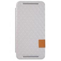 Чехол флип подставка с текстурным узором для HTC Desire 700 Белый