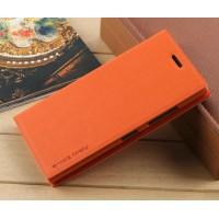 Текстурный чехол флип портмоне подставка на присоске для Nokia Lumia 730/735 Оранжевый