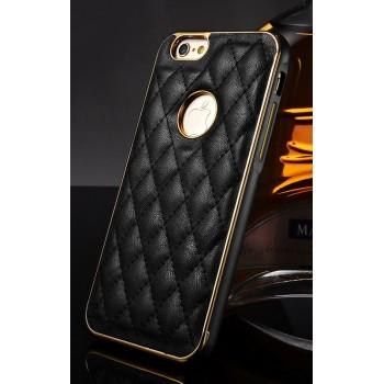 Двухкомпонентный чехол с металлическим бампером с золотой окантовкой и кожаной прошитой накладкой (нат. кожа) с отверстием для лого для Iphone 6