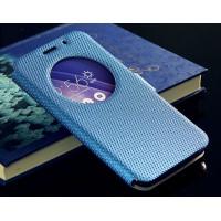 Текстурный водоотталкивающий чехол флип подставка на силиконовой основе с окном вызова и магнитной застежкой для Asus Zenfone 2 Голубой