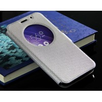 Текстурный водоотталкивающий чехол флип подставка на силиконовой основе с окном вызова и магнитной застежкой для Asus Zenfone 2 Белый
