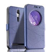 Текстурный чехол флип подставка с окном вызова для Asus Zenfone 2 Синий
