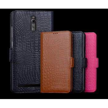 Кожаный чехол портмоне (нат. кожа крокодила) для Asus Zenfone 2