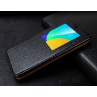 Кожаный прошитый чехол смарт флип с окном вызова серия Colors для Meizu MX4 Pro Черный