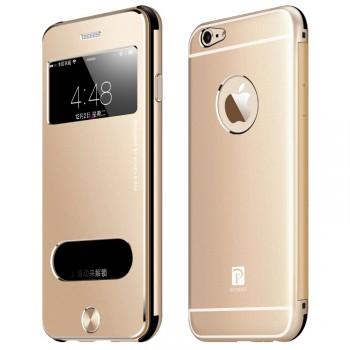 Металлический ультратонкий 9 мм чехол флип премиум с окном вызова и свайпом для Iphone 6 Plus