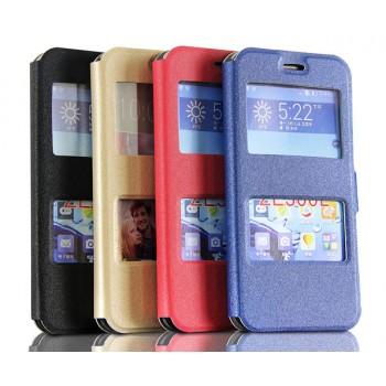 Текстурный чехол флип подставка с окном вызова и свайпом для Asus Zenfone 2 5