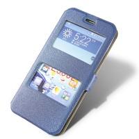 Текстурный чехол флип подставка с окном вызова и свайпом для Asus Zenfone 2 5 Синий
