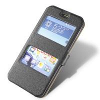Текстурный чехол флип подставка с окном вызова и свайпом для Asus Zenfone 2 5 Черный