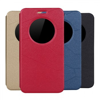 Текстурный чехол флип подставка на силиконовой основе с окном вызова и магнитной застежкой серия Pieces для Asus Zenfone 2 5