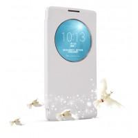 Текстурный чехол смарт флип с фирменным окном вызова на пластиковой нескользящей основе для LG Spirit Белый