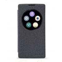 Текстурный чехол смарт флип с фирменным окном вызова на пластиковой нескользящей основе для LG Spirit Черный