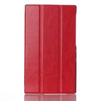 Чехол флип подставка сегментарный глянцевый на поликарбонатной основе для Lenovo Tab 2 A7-30 Красный