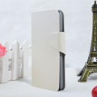 Текстурный чехол портмоне подставка на пластиковой основе с магнитной застежкой для Alcatel One Touch Idol 2 Белый