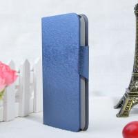Текстурный чехол портмоне подставка на пластиковой основе с магнитной застежкой для Alcatel One Touch Idol 2 Синий