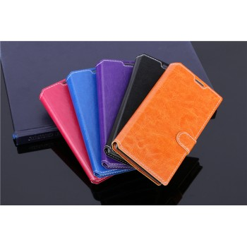 Чехол портмоне подставка с прошивкой и магнитной защелкой на пластиковой основе для ZTE Blade G Lux