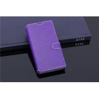 Чехол портмоне подставка с прошивкой и магнитной защелкой на пластиковой основе для ZTE Blade G Lux Фиолетовый