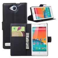 Чехол портмоне подставка с защелкой на пластиковой основе для ZTE Blade G Lux Черный