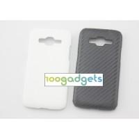 Пластиковый чехол с кожаным покрытием Карбон для Samsung Galaxy Core Prime