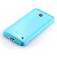 Ультратонкий 0.6 мм силиконовый полупрозрачный чехол с точечной структурой для Nokia Lumia 630 Голубой