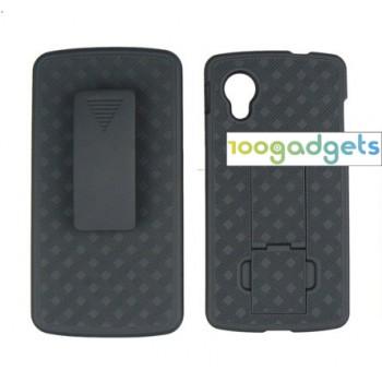 Антиударный поликарбонатный чехол с независимым защитным модулем для экрана на клипсе и ножкой-подставкой для Google LG Nexus 5
