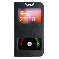 Текстурный чехол флип подставка с окном вызова и свайпом для Microsoft Lumia 430 Dual SIM Черный