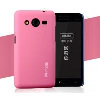 Пластиковый матовый чехол с повышенной шероховатостью для Samsung Galaxy Core 2 Розовый