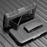 Трехкомпонентный ударостойкий силиконовый чехол с поликарбонатной крышкой и независимым защитным модулем для экрана на клипсе под ремень для Samsung Galaxy Core 2 Черный
