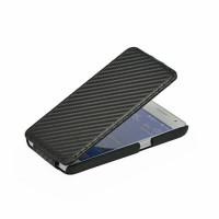 Кожаный чехол вертикальная книжка текстура Карбон для Samsung Galaxy Core 2