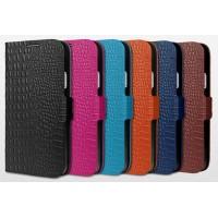Кожаный чехол горизонтальная книжка (нат. кожа) подставка на силиконовой основе с магнитным креплением текстура крокодил для Samsung Galaxy S5