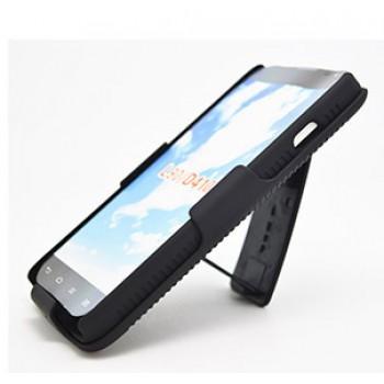 Антиударный поликарбонатный чехол с независимым защитным модулем для экрана на клипсе под ремень и ножкой-подставкой для для LG L90