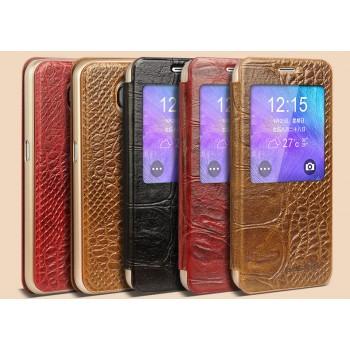 Кожаный смарт чехол горизонтальная книжка (нат. кожа крокодила) с окном вызова на пластиковой основе для Samsung Galaxy S6 Edge