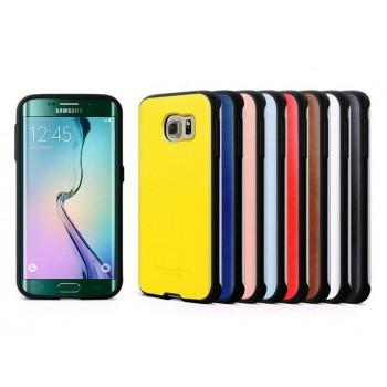 Противоударный усиленный силиконовый премиум чехол с кожаной текстурой для Samsung Galaxy S6 Edge