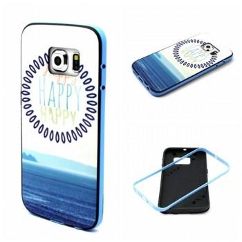 Двухкомпонентный силиконовый дизайнерский чехол с принтом для Samsung Galaxy S6 Edge