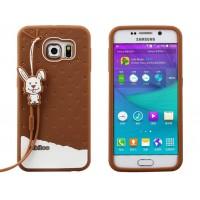 Силиконовый дизайнерский фигурный чехол с шнурком для Samsung Galaxy S6 Edge Коричневый