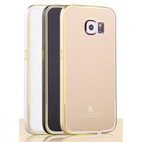 Двухкомпонентный чехол с металлическим бампером и поликарбонатной накладкой с золотой окантовкой для Samsung Galaxy S6