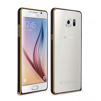 Металлический бампер с золотой окантовкой для Samsung Galaxy S6