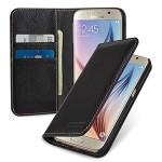 Кожаный чехол портмоне подставка (нат. кожа) на пластиковой основе для Samsung Galaxy S6