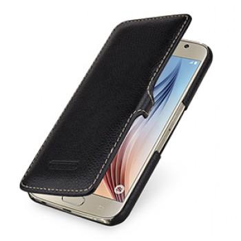 Кожаный чехол горизонтальная книжка (нат. кожа) с защелкой для Samsung Galaxy S6